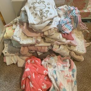 Newborn LOT girl onesies and sleepers
